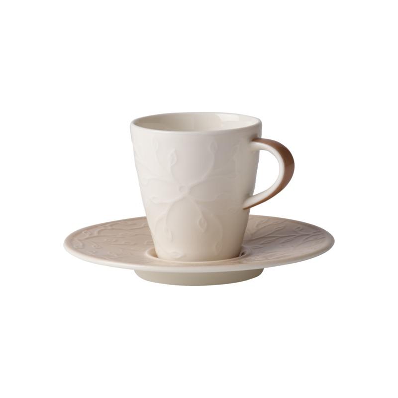 Villeroy & Boch - Caffé Club Floral Touch of Hazel - filiżanka do espresso ze spodkiem - pojemność: 0,1 l
