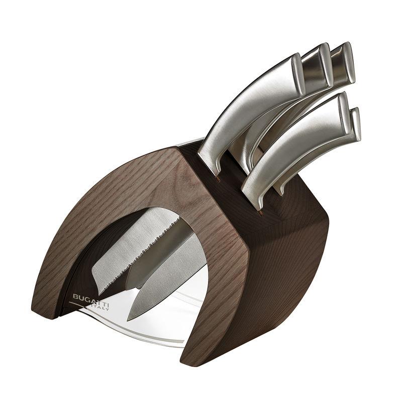 Bugatti - Virgola - zestaw noży w bloku - 6 elementów