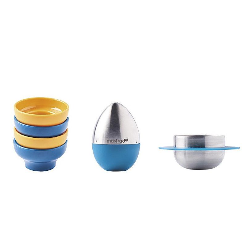 Mastrad - zestaw do jajek na miękko - 4 kieliszki, obcinacz i solniczka