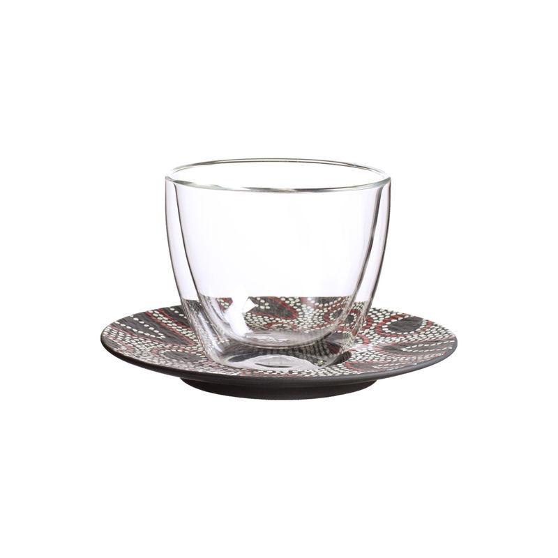 Villeroy & Boch - Manufacture Rock Desert - szklanka do kawy z mlekiem ze spodkiem - pojemność: 0,42 l; podwójne ścianki