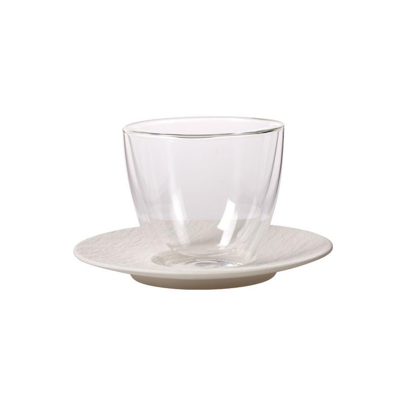 Villeroy & Boch - Manufacture Rock blanc - szklanka do kawy z mlekiem ze spodkiem - pojemność: 0,42 l; podwójne ścianki