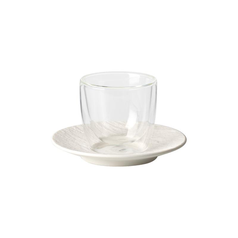 Villeroy & Boch - Manufacture Rock blanc - szklanka do espresso ze spodkiem - pojemność: 0,11 l; podwójne ścianki