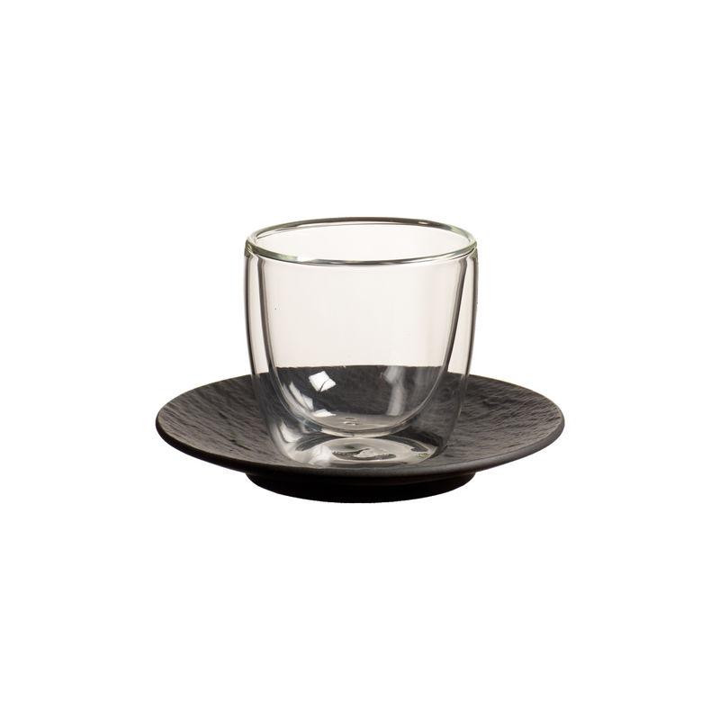 Villeroy & Boch - Manufacture Rock - szklanka do espresso ze spodkiem - pojemność: 0,11 l; podwójne ścianki
