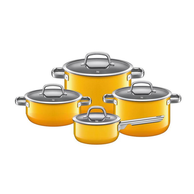 WMF - Fusiontec Mineral - 4-częściowy komplet garnków - ze szklanymi pokrywkami