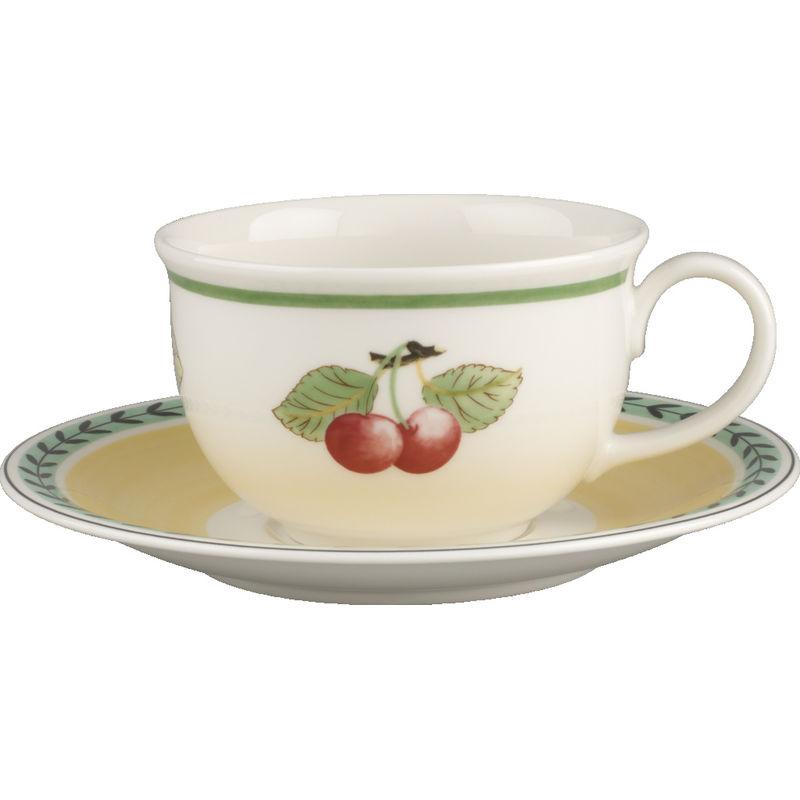 Villeroy & Boch - French Garden Charm & Breakfast - duża filiżanka do białej kawy ze spodkiem - pojemność: 0,5 l