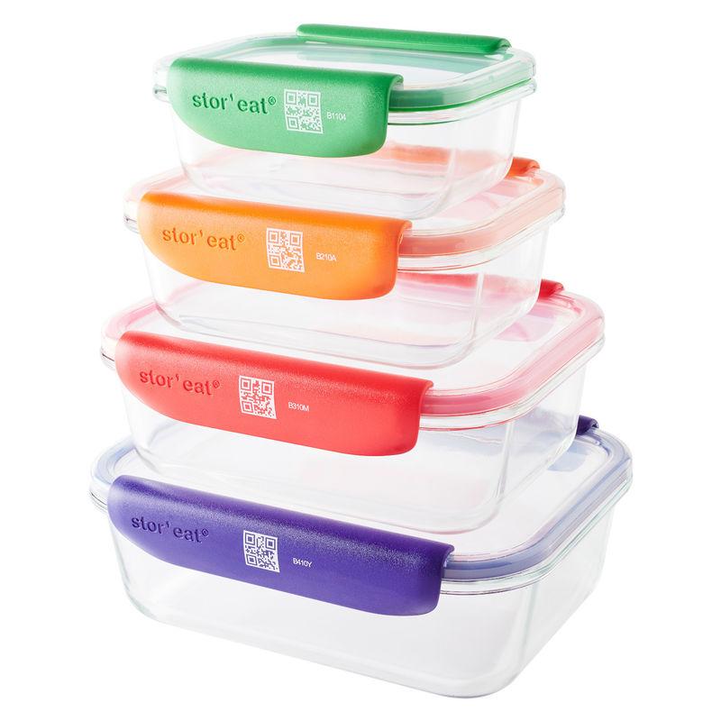 Mastrad - Stor'eat - zestaw 4 pojemników na żywność - pojemność: 0,37 l + 0,64 l + 1,04 l + 1,52 l